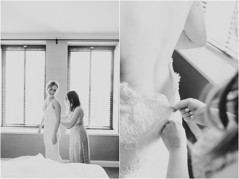 bride putting on the wedding dress, Temecula wedding photographer